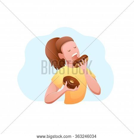 National Donut Day Flat Design Isolated Banner. Young Hungry Woman Eating A Donut With Chocolate.