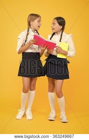 Friendship Goals. Cute School Girls With Books. First Day At School. Sharing Gossips Personal Diary.