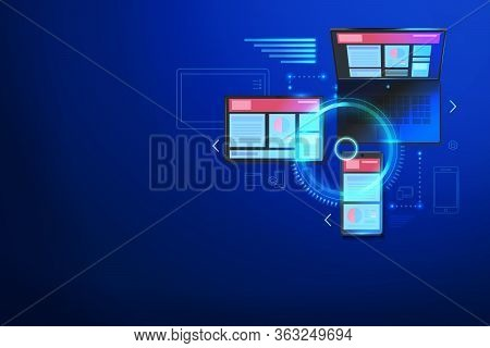 Building Website For Multiple Platforms. Web Cross Platform Technology Consept. Mobile Interface For