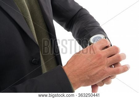 Time Is Now. Wrist Watch On Male Hand. Adjusting Or Checking Watch. Mans Watch. Portable Timepiece.