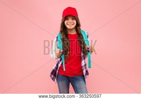 School Is Cool. Happy Child Back To School. School Girl Carry Backpack Pink Background. Elementary S