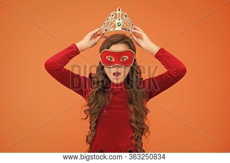Born To Win. Happy Little Prize Winner. Small Girl Put Crown On Head. Award Winner In Carnival Mask.