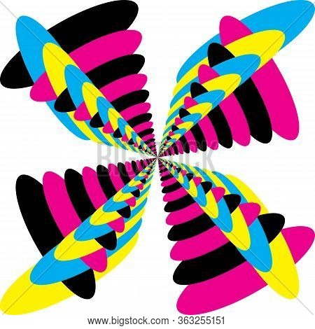 Abstract Butterfly Multiple Colors Cyan Magenta Yellow Black Combined Designer Graphic Cut
