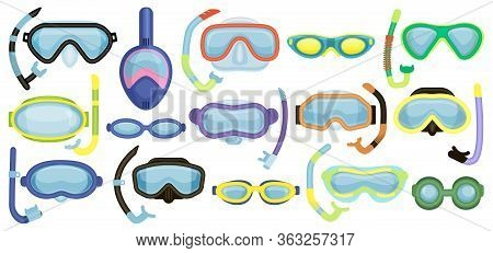 Masks For Swimming Vector Cartoon Set Icon. Isolated Cartoon Set Icon Underwater Glasses . Vector Il
