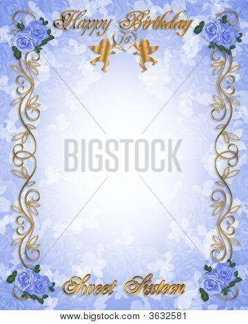 Sweet 16 Invitation Blue Roses
