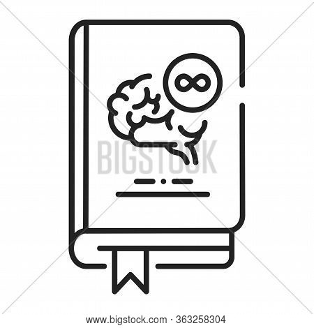 Philosophy Book Black Line Icon. The Study Of General And Fundamental Questions About Existence, Kno