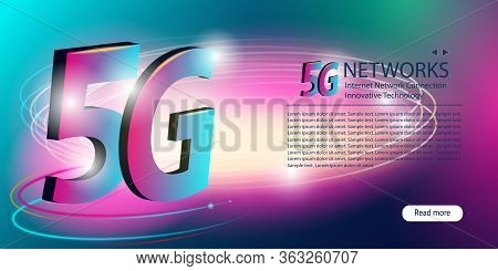 5g Network. Innovative Generation Of The Global High Speed Internet Broadband. New Wireless Internet