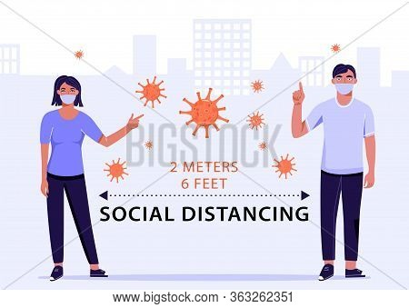 Social Distancing Concept. Distance Two Meter. Precautions For 2019-ncov Coronavirus Spread Of The V