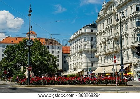 Vienna, Austria - June 4, 2019: Elegant Old Buildings And Colorful Flowers On The Famed Ringstrasse