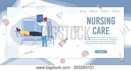 Nursing Care Banner. Woman Nurse Examining Patient Xray. Man Lying On Medical Bed In Hospital Ward.