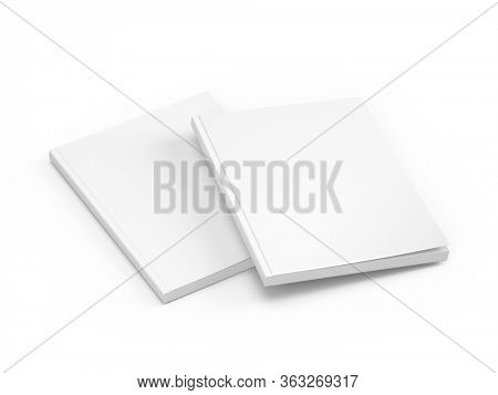 Magazine pair - Blank White Cover Of Magazine isolated on white background. Mock Up Template of magazine, book, brochure, booklet. 3d rendering