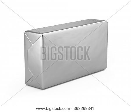 Blank Butter block isolated on white - Butter block mockup - 3d rendering