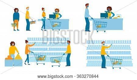People In Medical Masks Doing Shopping In Supermarket. Quarantine Coronavirus 2019-ncov In The Store