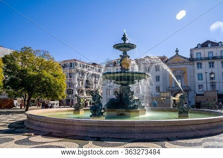 Fountain On The Main Square In Lisbon, Portugal, February 2018