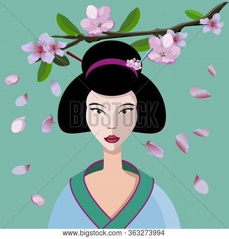 Cute Geisha Vector With Sakura Flowers Branch Isolated On Light Green Background