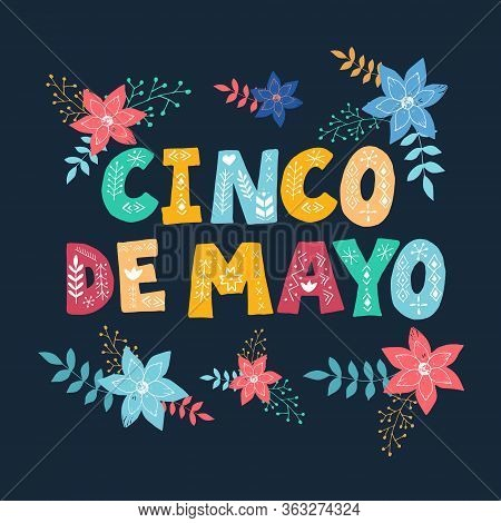 Cinco De Mayo Banner Text. Greeting Typography Font. Mexican Festival Invitation Card. The 5th Of Ma