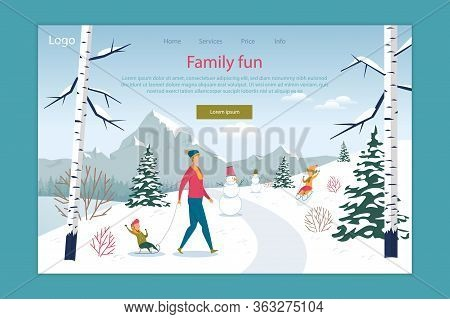 Family Fun In Winter Park Or Forest Landing Page. Online Service Offer Happy Seasonal Active Recreat