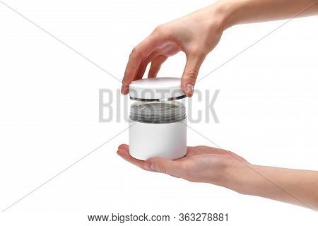 Womans Hands, Girl Holding An Open Jar Of Cream, Close Up, White Background, Copy Space, For Text, T