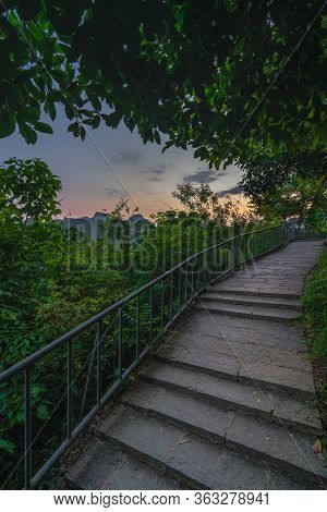 Stony Stairs On A Walking Path And Trail To The Top Of Xianggong Hill Viewpoint, With View Of Beauti