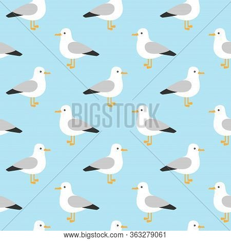 Modern Childish Seamless Pattern With Seagulls In Vector. Cute Cartoon Seagulls.