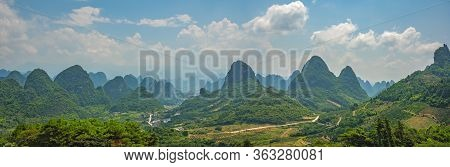 Wide Panoramic View Of The Beautiful Green, Lush, Tropical And Dense Karst Mountain Peaks And Landsc