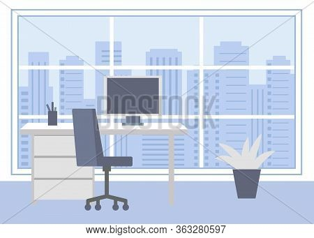 Workplace Room, Home Office. Interior, Cabinet, Office With Computer. Vector Illustration In Flat St