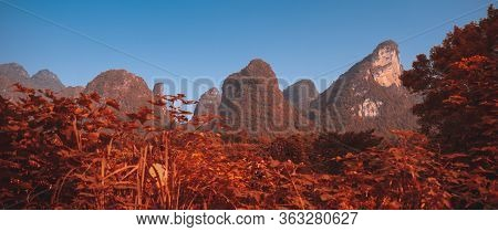 Panorama Of A Beautiful Red And Orange Autumn Colors Of Lush And Dense Karst Mountain Landscape In Y