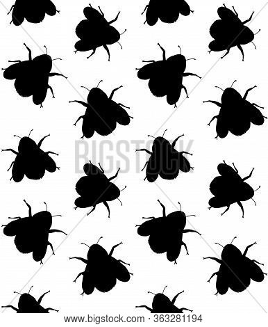 Vector Seamless Pattern Of Black Sketch Bumblebee Bee Silhouette Isolated On White Background
