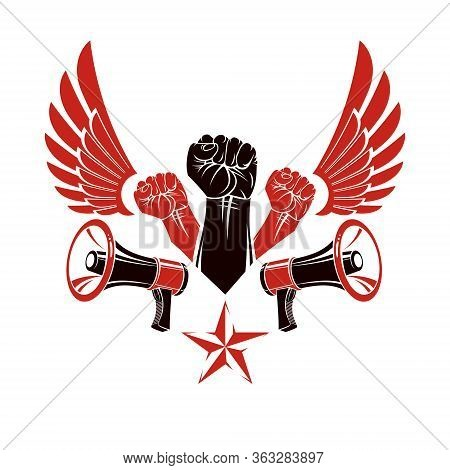 Vector Advertising Poster Created Using Clenched Fists Raised Up, Bird Wings And Loudhailer Equipmen