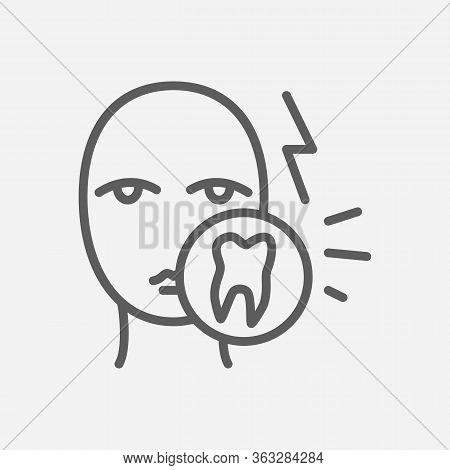 Tooth Ache Icon Line Symbol. Isolated Vector Illustration Of Icon Sign Concept For Your Web Site Mob
