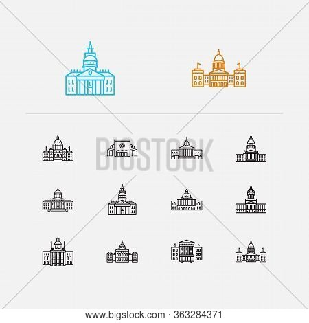 Landmark Icons Set. Cathedral And Landmark Icons With Massachusetts State Capitol, Government And Ge