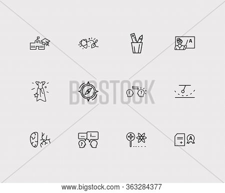 Online Learning Icons Set. Archaeology And Online Learning Icons With Kinetics, Prom Dress And Psych