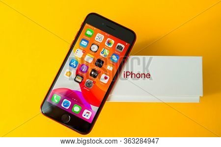 Paris, France - Apr 26, 2020: Phone On Package - New Budget Iphone Se By Apple Computers Touch Id, S