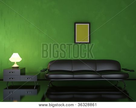 Interior With A Black Sofa