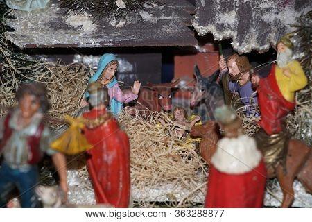 Christmas Nativity Scene Of Jesus Birth,  Nativity Scene With Religious Statuettes
