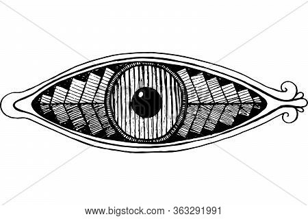 Shamanic Eye - Engraving Style. Ink Line Artwork. Mystical Occult Witch Eye. Shamanic Sticker. Vecto