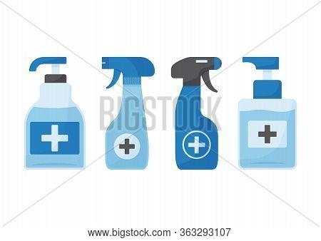 Disinfection. Hygiene. Hand Sanitizer Bottles, Antiseptic, Washing Gel, Spray, Liquid Soap. Vector I