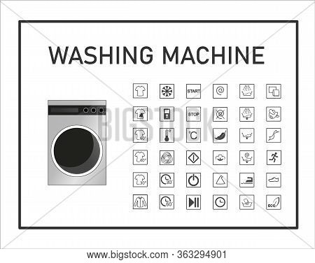 Washing Machine Manual Icon Set. Signs And Symbols For Washing Machine Exploitation Manual. Instruct