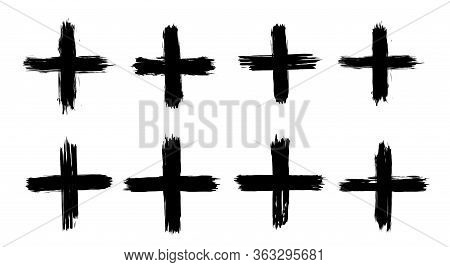 A Collection Of Plus Signs In Grunge Style. 8 Highly Detailed And Different Crosses. High Quality Ma