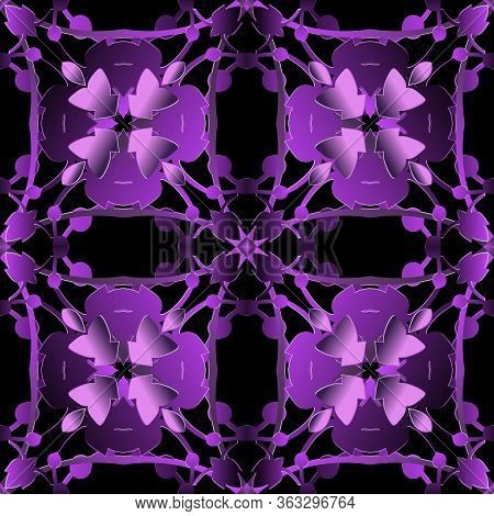 Baroque 3d Seamless Pattern. Ornamental Vector Glow Background. Repeat Floral Backdrop. Surface Baro