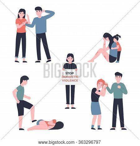 Stop Domestic Violence Set. Husband Beats His Wife, Child Comforting Upset Mom, Guy Kicks Girl, Man