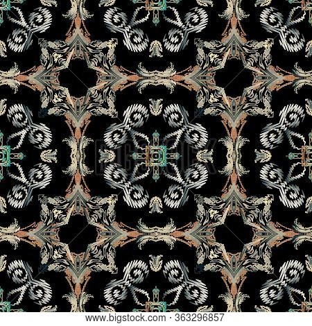 Baroque Seamless Pattern. Textured Vector Tapestry Background. Repeat Floral Backdrop. Surface Baroq