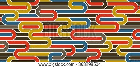 Seamless Lines Pattern, Stripy Geometric Vector Abstract Background, Linear Stripy Net, Optical Maze