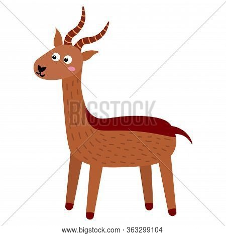 Cute Cartoon Antelope In Childlike Flat Style Isolated On White Background. Vector Illustration.