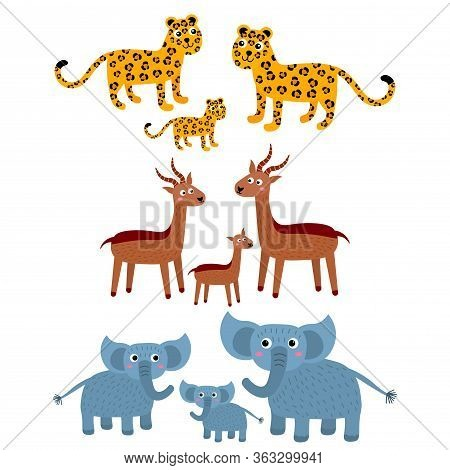 Leopard, Gazelle, Elephant. Cartoon African Families Of Wild Animals In Childlike Flat Style Isolate