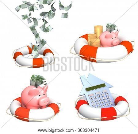 Help in financial recession. Piggy bank, euro banknote in lifebuoy. Help in financial crisis, helping to survive. Help, support, survival, investment concept. Isolated on white background. 3d render