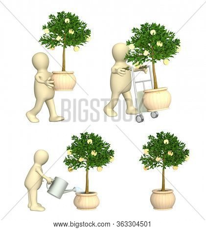 Wealth, financial prosperity and success concept. 3d man with money tree, puppet, watering monetary tree. Isolated on white background. 3d render