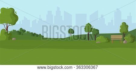 Cartoon Scenery Or Green Park - Nature Outdoor Green Place With Trees, Stones, Bushes And Lawn, City