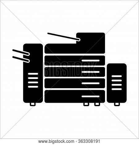 Black Copy Machine Printer Copier For Office Photocopier. Duplicate Equipment Icon. Illustration, Ep