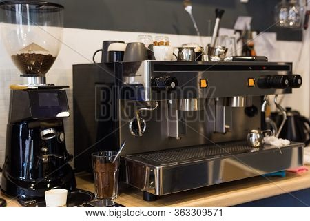 Coffee Machine In Coffee Shop. Drinks And Coffee House Concept.